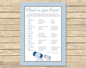 Blue Elephant What's in your Purse Printable Game, Elephant Purse Activity, Blue Boy Elephant Shower, Chevrons, DIY, Instant Download, 004-B