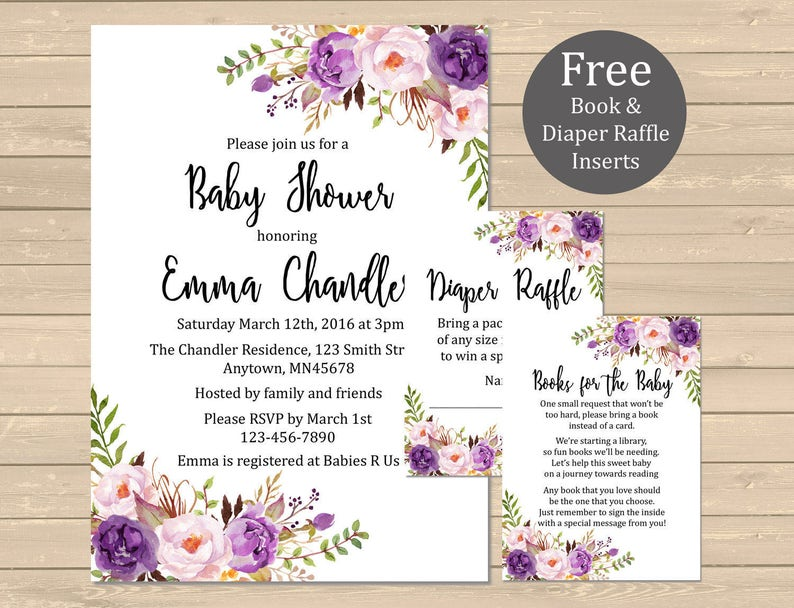 Printable Purple Boho Floral Baby Shower Invitation Book Etsy