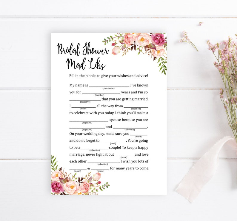 graphic regarding Bridal Shower Mad Libs Printable identified as Boho Bridal Shower Insane Libs Printable Recreation, Floral Outrageous Libs Printable Sport, Boho Peonies Recreation, Do it yourself Crazy Libs, Quick Down load, 110-W