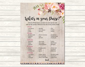 Rustic Boho Bridal Shower What's in your Purse Printable Game, Tribal Floral Purse Activity, Boho Bridal Shower Game, Instant Download 109-A