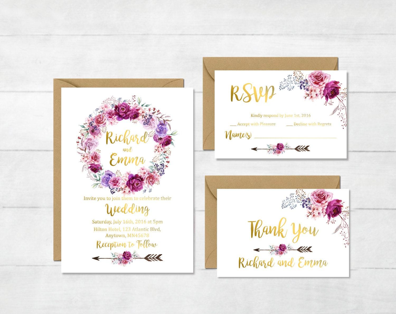 Purple Rose Wedding Invitations: Gold Purple Roses Floral Wreath Printable Wedding