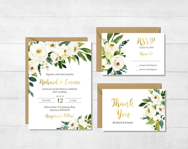 White And Green Wedding Invitations: White Gold Green Floral Printable Wedding Invitation Suite