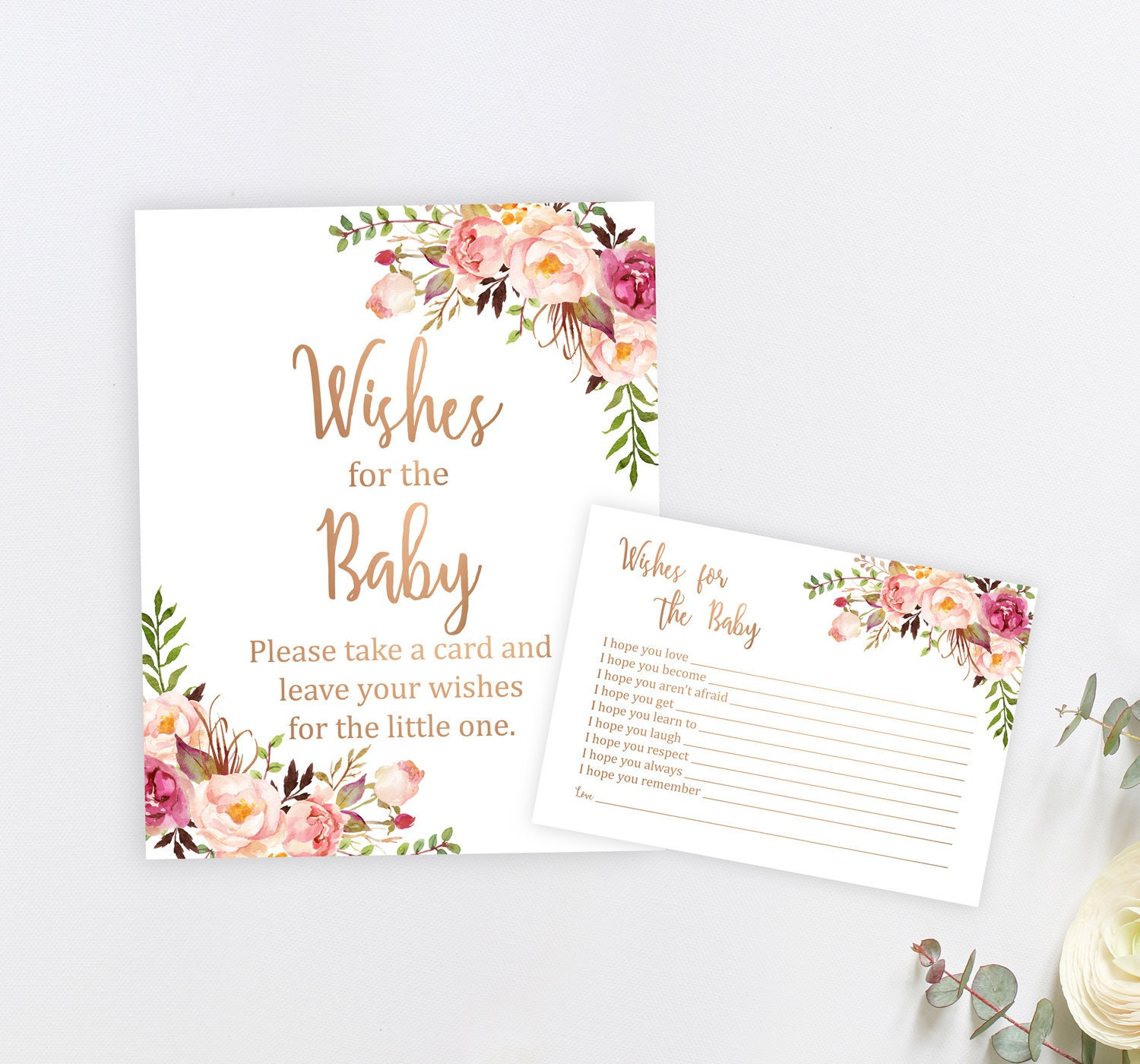 Rose Gold Floral Wishes For Baby Printable Cards And Sign Etsy