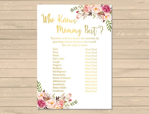graphic regarding Who Knows Mommy Best Printable named Gold Boho Who Is familiar with Mommy Simplest Printable Video game, Floral Who