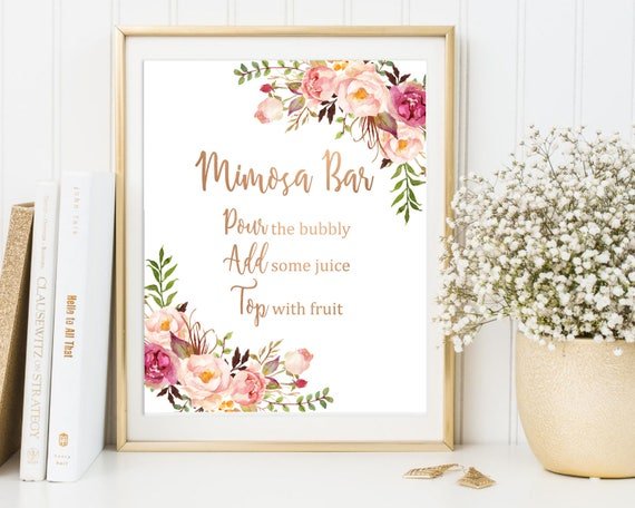 Rose Gold Boho Floral Mimosa Bar Sign