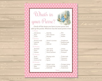 Pink Peter Rabbit What's in your Purse Printable Game, Beatrix Potter Purse Activity, Girl Peter Rabbit Shower, DIY, Instant Download, 014-B