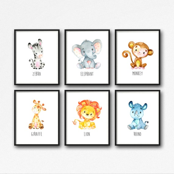 This is a graphic of Printable Jungle Animals with cute