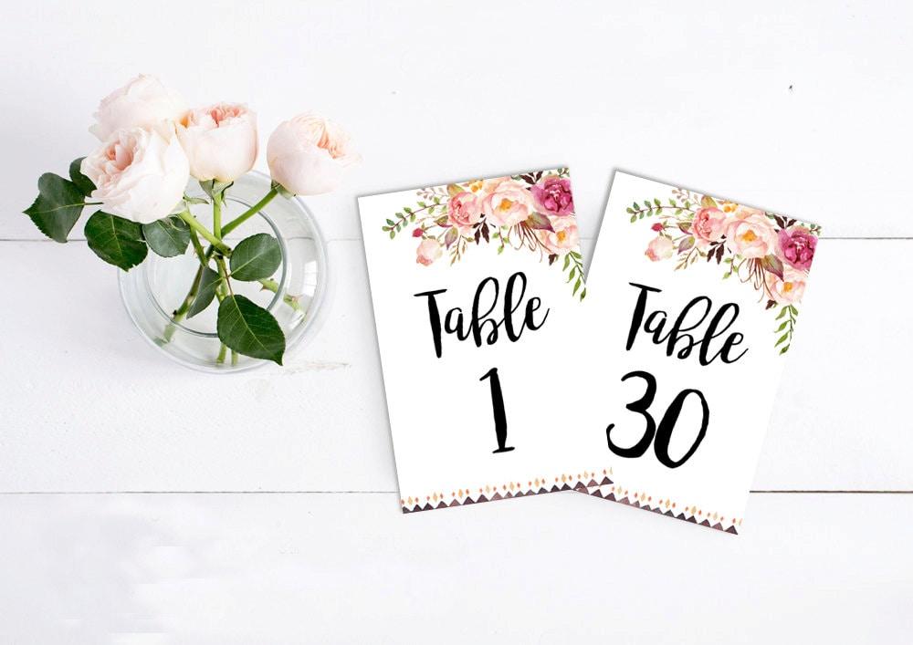 Druckbare Boho Tribal Tischnummern Blumen Hochzeit | Etsy