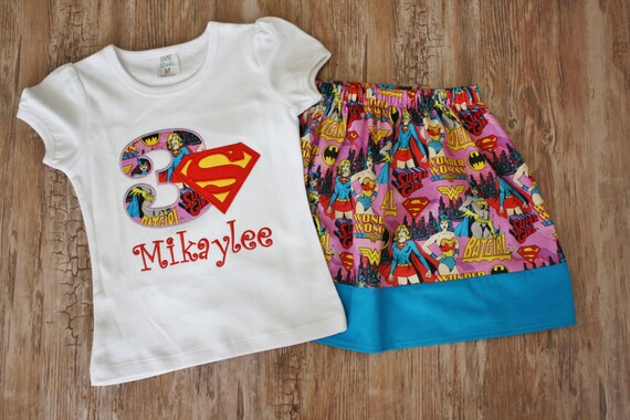 Superhero Girl Birthday Shirt Supergirl Outfit