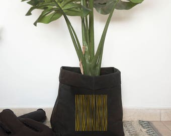 Jardinière, cache-pot, jardinière moderne, jardinière d'intérieur, plante, noir or Home Decor, papier lavable sac, sac de rangement de papier
