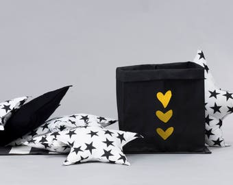 Papier lavable sac rangement élégant, décoration noir, résistant à la déchirure, papier sac, panier à linge, rangement jouet, jardinière
