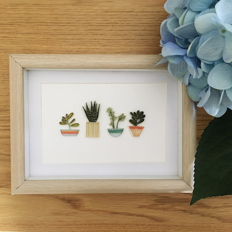 Eco-friendly packaging Potted Plants Paper Quilled Plants in Pots Succulents