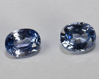Natural Ice Blue Sapphire, Matching Pair, Oval Mixed Cut, 0.91ct Total Weight