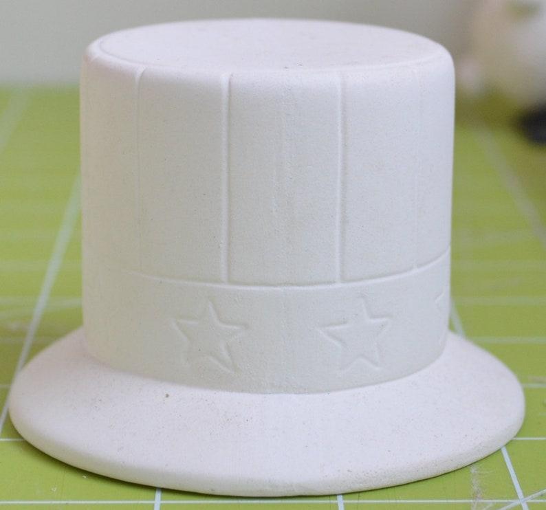 Ceramic Bisque Patriotic Hat Candle Holder Patriotic Candle Holder FREE SHIPPING Unpainted Candle Holder