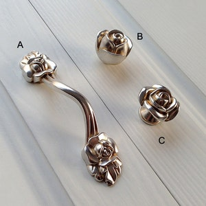 3.85 Rose Handle French Style Shabby Chic Dresser Pulls Knob Silver Cabinet Pull Handle Furniture Hardware LJ092