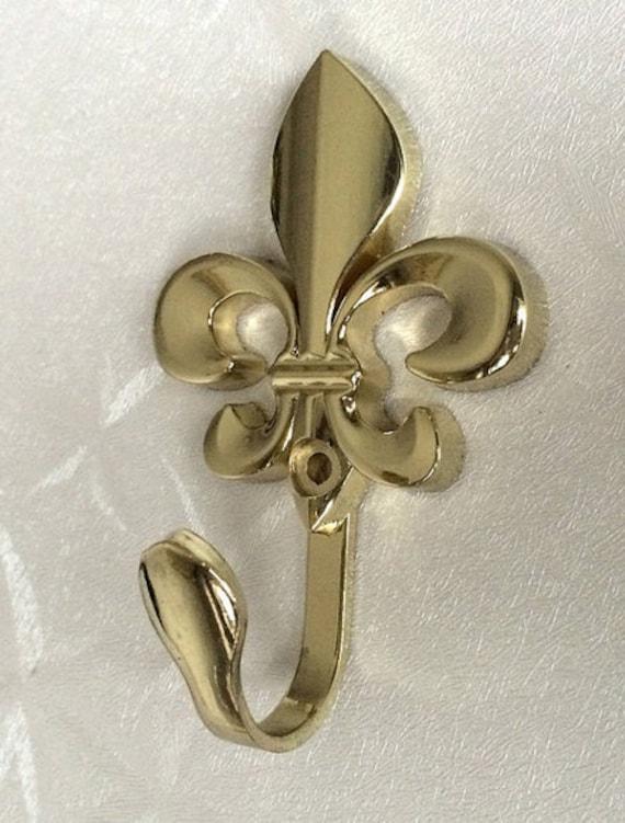 Gold Fleur De Lis Metal Wall Hook Decorative Hooks Coat Etsy