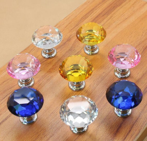 XM364 Square Glass Crystal Dresser Knob  Glass Knobs Drawer Knobs colorful Pulls  Kitchen Cabinet Knobs Handle Pull Bling Hardware