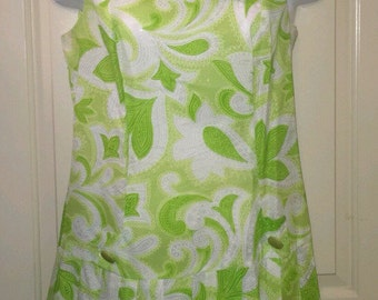 Vtg 70s Royal Miss green paisley floral mini dress