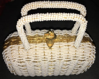 Vintage White and Gold Basket Weave Purse by Walborg Made in Hong Kong