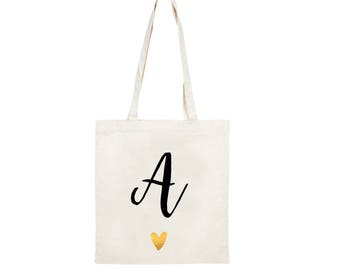 58770f3d3 initial canvas bag, shopping bag, canvas shopper, gifts for her, present  ideas, gifts, back to school bag, reusable bag, recycled