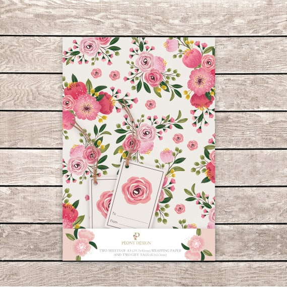 Floral Wrapping Paper Flower Wrapping Paper Floral Artwork Etsy