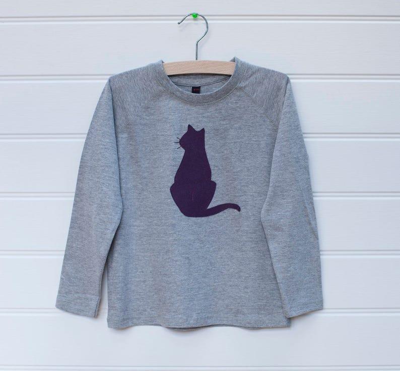 3f1b251619 Girl s Cat Applique Long Sleeve T-shirt Girls Clothing