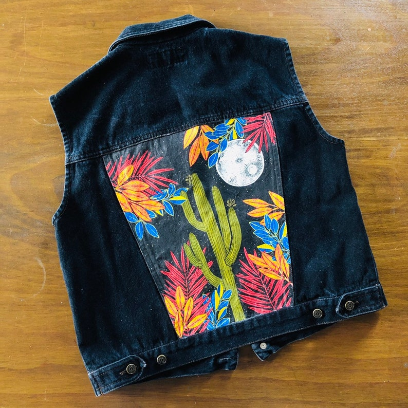 Denim Vest. Hand Painted. Cactus art. VIntage vest. image 0