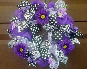 Purple Wreath, Spring Wreath, Summer Wreath, Door Wreath, Door Hanger, Front Door Wreath, Flower Wreath, Floral Wreath, Large Wreath