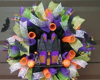Haunted house wreath, house wreath, purple wreath, halloween wreath, green wreath, illuminated wreath, front door wreath, bat wreath