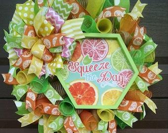 Citrus Wreath, Lemon wreath, Orange Wreath, Lime Wreath, Spring Wreath, Summer Wreath, Squeeze Wreath, Large Wreath, Mothers Day Wreath