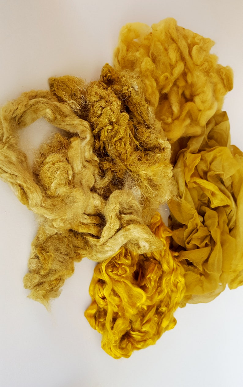 20 Euro100 g Creative mix bag 60 g with wool and silk mixed for textile creating set for wet felting in color antique gold