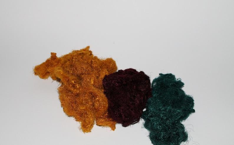 Yellow-Dark Red-Emerald for wet felting or spinning Sari silk waste mix bag 50 g 12 Euro100g creative design of felting surfaces