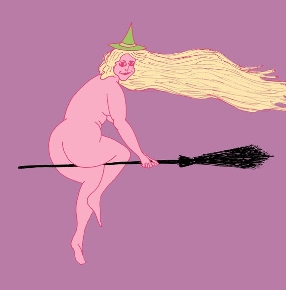Naked Witch Riding Broomstick 8 x 10 Salem MA | Etsy