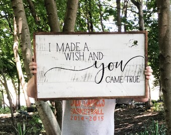 Hand painted wooden I made a wish and you came true pallet sign home decor