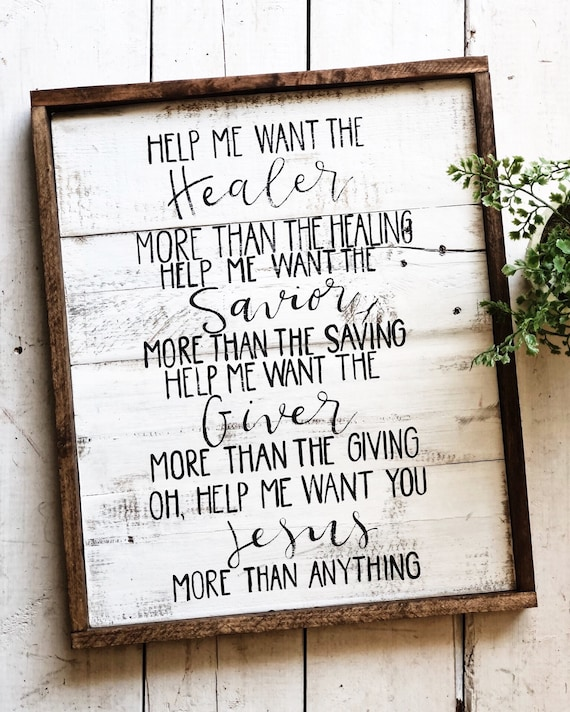 Hand painted wooden More than anything lyric pallet sign home decor