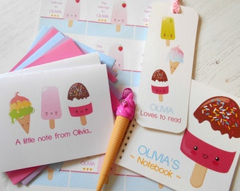 Kawaii Ice Cream Stationery Bundle
