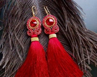Red earrings-brushes with Swarovski crystals