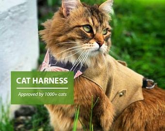 Classic Tweed Cat Harness. Difficult to escape. Yellow-beige Herringbone. Kitten vest with brooch.  | ALLCATSGOOD