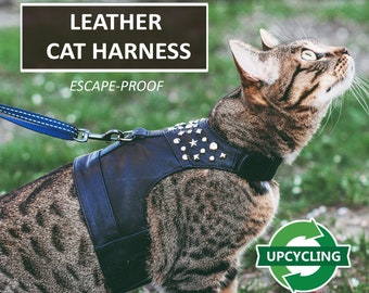 Upcycling leather harness for Rock Star. Difficult to escape. Total Black Handmade Vest. Made-to-measure. Cat Walking Jacket.  | ALLCATSGOOD