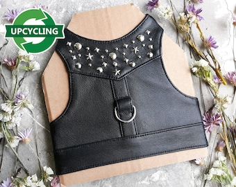 Upcycling Leather Harness. Escape Proof. Handmade Vest.  ALLCATSGOOD