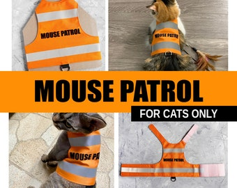 Mouse Patrol. Water-repellent Orange Safety Cat Harness with reflective strips. For cats and kittens