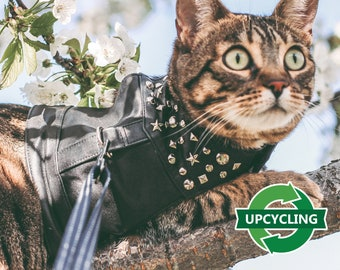 Walking Cat Harness. Upcycling leather. Escape proof. Handmade Vest. Harness for Hiking, Walking, Training or Service