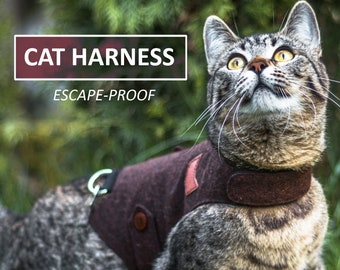 Classic Burgundy Harness with Leather Patch. Difficult to escape. Cat Walking Jacket. Handmade Vest | ALLCATSGOOD