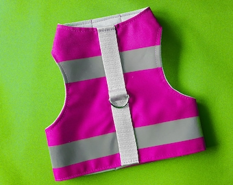 High Visibility Water-repellent Magenta Safety Cat Harness with reflective strips. Difficult to escape. Handmade Vest | ALLCATSGOOD