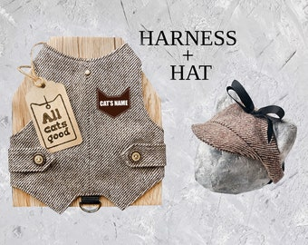 NEW Personalized Set Harness and Hat. Diagonal. Tweed Harness with patch. Stylish Cat Hat. Difficult to escape