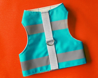 Cat and kitten harness. Turquoise water-repellent with reflective strips. Difficult to escape  | ALLCATSGOOD