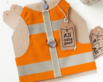 High Visibility Water-repellent Orange Safety Cat Harness with reflective strips. Difficult to escape. Handmade Vest | ALLCATSGOOD