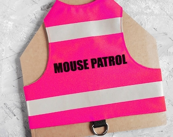 Mouse Patrol. Water-repellent Pink Safety Cat Harness with reflective strips. Difficult to escape. Handmade Vest | ALLCATSGOOD