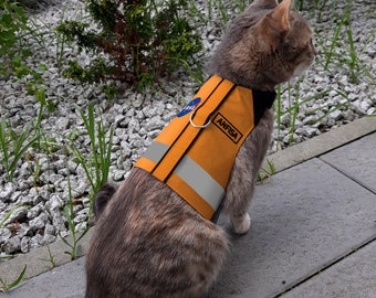 Personalized Orange NASA Cat Harness with your cat's name and Reflective stripe. Handmade Vest