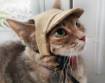 Classic Cat Hat. Cap for Cats and Kittens. Yellow Herringbone hat. Pet photo prop | ALLCATSGOOD
